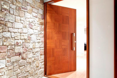 Custom front door, unique door design, architect design door, timber door, stainless steel hardware, door pull, door handle