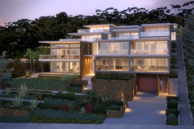 Architect designed Apartments, modern apartments, contemporary apartment design, flat roof, water views, sloping site design