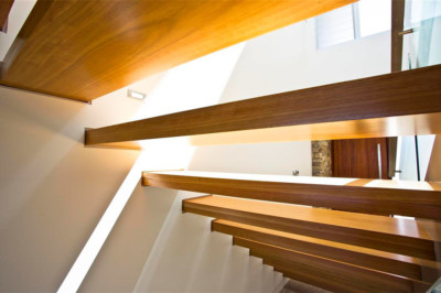 Slater Architects custom designed stairs, timber stairs, tiled stairs, open tread stairs, closed tread stairs, handrail, glass balustrade, designer stairs