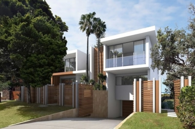 Sydney Architect designed house, modern house, contemporary house, white and timber building, waterfront, beach front, ocean views