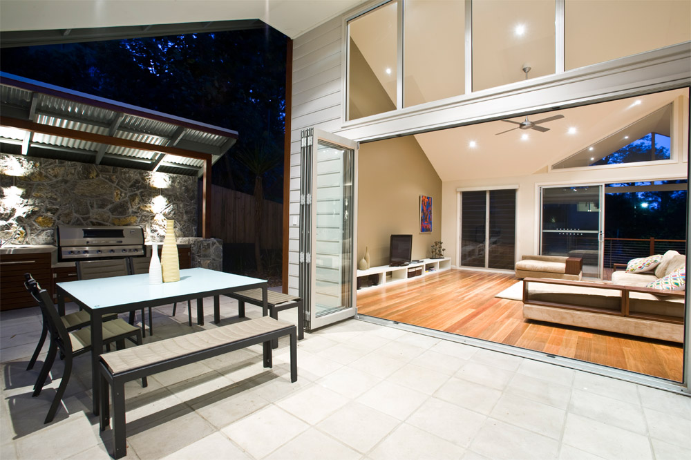 Stone, Timber, raked ceiling, vaulted ceiling, pool, architect central coast