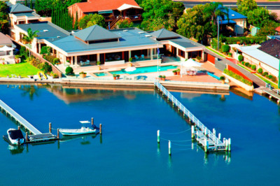 Water Views, Waterfront, Tuscan Inspired house, Architect designed, italian architecture, pool, Gosford Architects