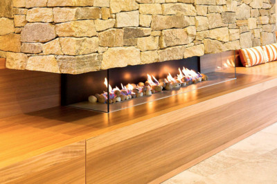 Stone feature with fireplace