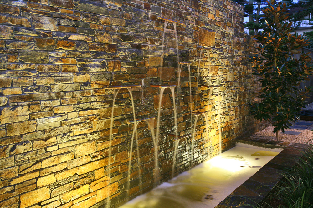 Stone, timber, and water feature