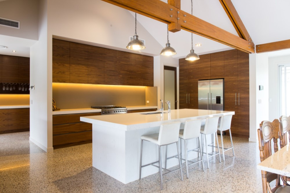 Natural timber in Kitchen design for beach house