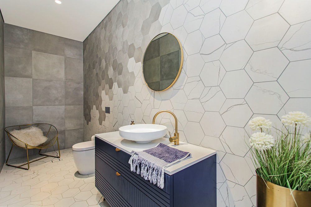 Hexagon Themed Modern Bathroom